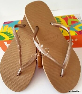 HAVAIANAS BNWT LADIES THONGS FLIP FLOPS Sandals Metallic Rose Gold Slim Logo