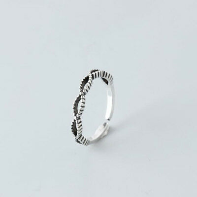 Hollow Out Silver Twisted Chic Vintage Interlaced Trendy Retro Ring