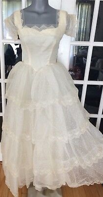 "Vintage 1950s Ivory Linen Princess ""Belle"" Layered Wedding Dress w/ Embroidery"