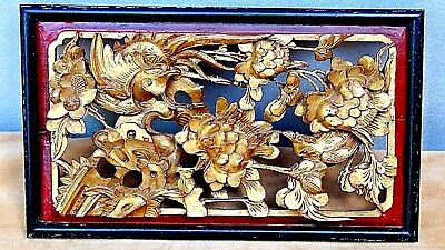 ANTIQUE 19c CHINESE WOOD GILT LACQUERED PIERCED RELIEF PHOENIX BIRDSTEMPLE PANEL