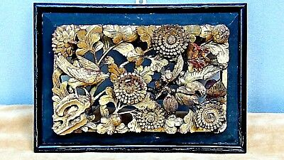 Antique Chinese Wood Gilt Lacquered Pierced Relief Birds,flowers Temple Panel #1