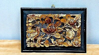 Antique Chinese Wood Gilt Lacquered Pierced Relief Birds,Flowers Temple Panel #2