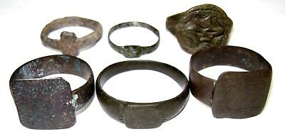 Ancient medieval lot of 6 bronze Rings with ornament.