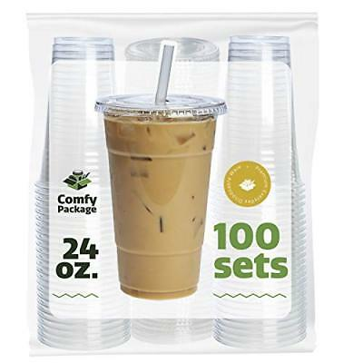 COMFY PACKAGE 100 Sets 24 oz. Plastic CRYSTAL CLEAR Cups with Flat Lids for Cold