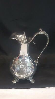Antique Silver Metalled Lidded Jug Pitcher Ewer Decanter 9 Inches Tall