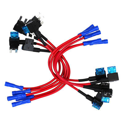 10 Pack - 12V Car Add-a-circuit Fuse TAP Adapter Mini ATM APM Blade Fuse Ho R7K1
