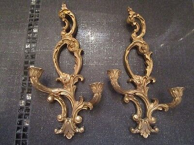 VINTAGE Lot Of 2 Gold Ornate Wall Sconce Candle Holders