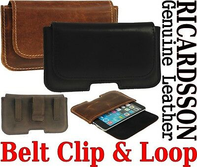 Belt Clip & Loop Holster Ricardsson Real Leather Pouch Case For Samsung Phones
