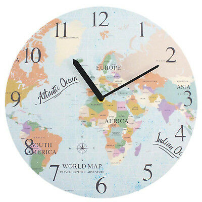 World Map Design Large Wooden Stylish Round Wall Clock Home & Kitchen 34cm