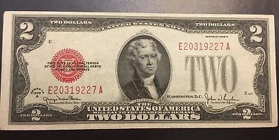 1928 series G $2 Two Dollar Red Seal Note Bill US Currency