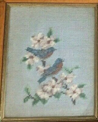 2 vintage 1968 needlepoint framed pictures  cat and bird