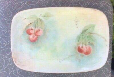 vintage hand painted small porcelain tray trinket vanity signed cherry design