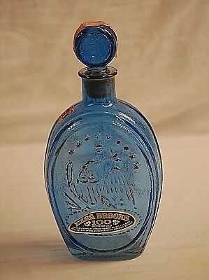 Old Vintage Ezra Brooks Whiskey Never Surrender Blue Bottle Eagle Cannon OK Tags
