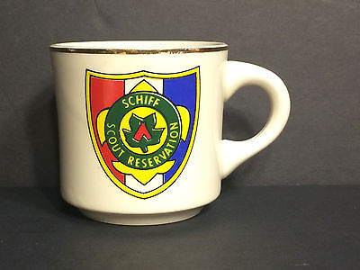Boy Scout Schiff Scout Reservation White Ceramic Coffee Mug - Rare Made In Usa