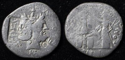 M. Fourius Philus AR Denarius (119 B.C.) with Vespasian countermark