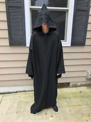 Deluxe Black Cloak Halloween Adult Costume Rental Quality with arms and hood