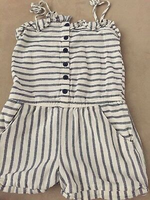 74c0ad8f758 Gap Kids Girls Size 5 Years White With Blue Strips Romper Fast Free Shipping