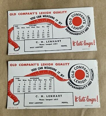 Vintage Old Company's Lehigh Ink Blotter Cards- Pa Coal Mining Set Of 2