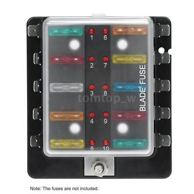 10-Way Blade Fuse Box Block Holder LED Indicator for Car Marine Boat 12-32V