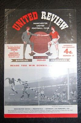 Manchester United V  Sheffield Wednesday Fa Cup 1959/60  Official Programme