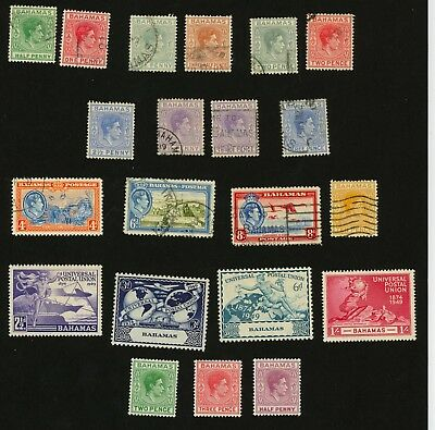 1938-1952 Bahamas Stamps Scott #100-109, (Used, H) #150-156 (Mint, H) 21 Stamps