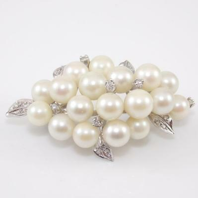 Vintage Estate 14K White Gold Natural Diamond Pearl Cluster Pin Brooch
