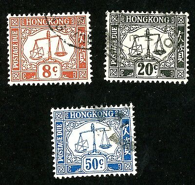 1946-47 Hong Kong Postage Due Stamps #J9, J11 and J12  All:  Used H