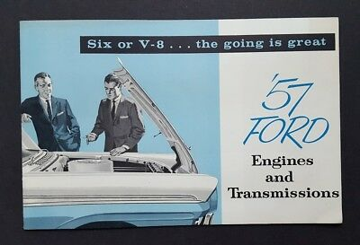 1957 Ford Engines and Transmissions Car Sales Brochure Catalog Six or V-8