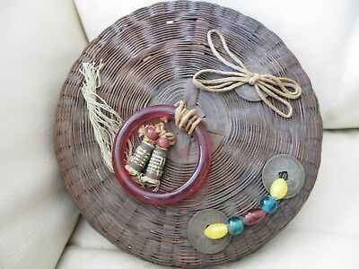 Antique Victorian Peking Red Glass Ring Coins Beads Tassel Chinese Sewing Basket
