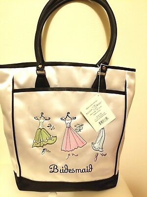 Lot 5 Bridesmaid Tote Embroidered Design Trim, Double Handles Lillian Rose New