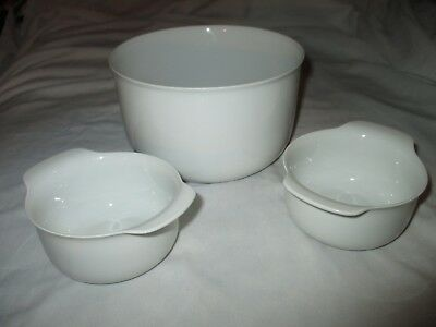 Hutschenreuther Germany Tavola Bianca White Round Vegetable Bowl & 2 Soup Coupes
