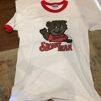 "VTG RARE 80s ~ ""Shoney Bear"" Graphic T Shirt ~ White ~ Small ~ NOS"