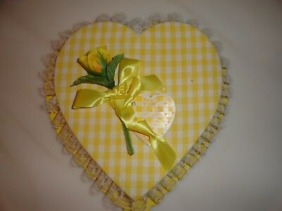 Vintage Yellow Valentine Heart Candy Box Russell Stover Candies