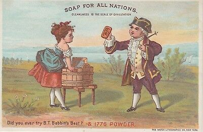 Babbits Soap Woman Doing Laundry in Wash Tub Victorian Trade Card