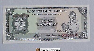 Paraguay 5 Guaranies Note Uncirculated Condition