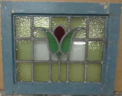"OLD ENGLISH LEADED STAINED GLASS WINDOW Gorgeous Bordered Floral 20.25"" x 16.5"""