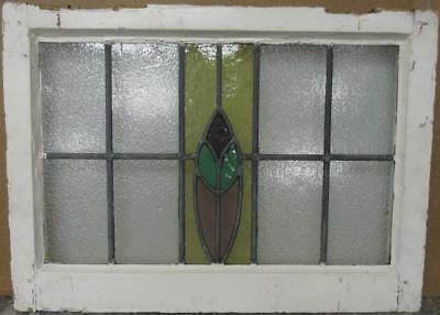 "OLD ENGLISH LEADED STAINED GLASS WINDOW Gorgeous Abstract Design 23.25"" x 17"""