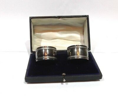 Vintage pair of silver plated serviette rings Napkin rings boxed