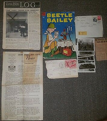 Lot of WWII Era Newspapers Comics Photos Beetle Bailey Camp Parks Log Letters