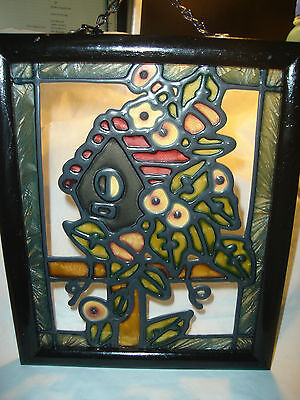 """Floral with House Framed Stained Glass  Window Suncatcher Hanger, 9"""" by 11"""""""