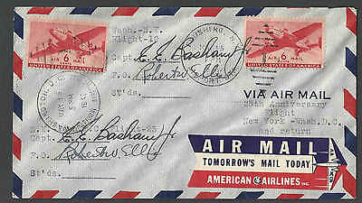1943 Cover American Airlines Label Etiquette On 25Th Anniversary Flt See Info