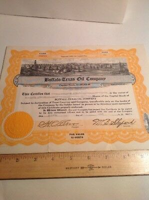 Vintage Oil Stock Certificate Buffalo Texas Oil Company 1923