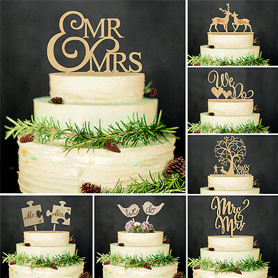 Mr&Mrs Romantic Wooden Sweet Cake Topper Wedding Party Top Letter Decoration US