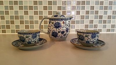Japanese Blue Floral Tea Set Tea Pot and 2 Tea Cups with Saucers Small Tea Set