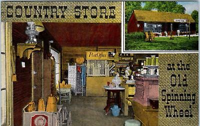 HINSDALE, IL   COUNTRY STORE  Old SPINNING WHEEL c1940s Roadside Linen  Postcard