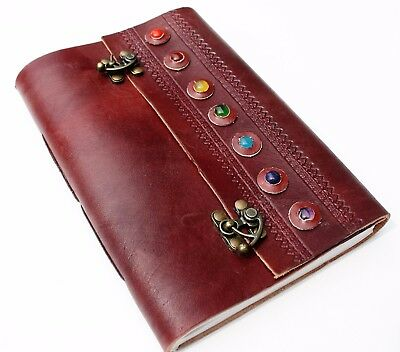 Handmade Leather Brown 7 Stone Travel Journal Diary Notebook Great Gift