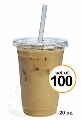 COMFY PACKAGE 100 Sets 20 Oz. Plastic CRYSTAL CLEAR Cups with Flat Lids for Cold