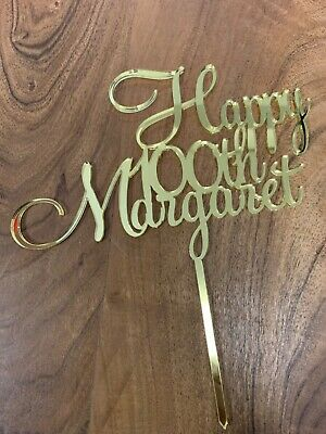 Custom Happy Birthday 21st Acrylic Cake Topper GOLD, ROSE GOLD,SILVER, BLK, WHTE