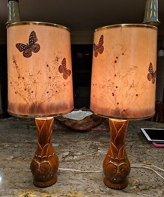 """Two Vintage 1940s Or 1950s Van Briggle Lamp Gloss Flower w Butterfly Shade 25"""""""