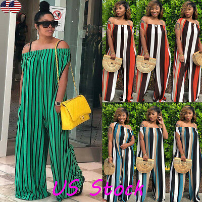 Womens Sexy Off Shoulder Jumpsuit Playsuit Bodycon Romper Trouser Clubwear Party